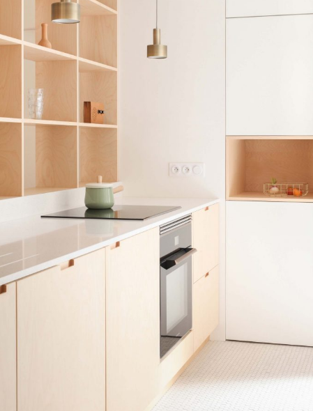Wood or plywood in the kitchen