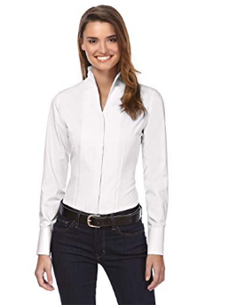 Vincenzo Boretti Women's Blouse, slightly fitted, Wrinkle-resistant and Breathable Fabric - comfortable to Wear, 100% Cotton, Chalice collar, Long Sleeves, uni White 40