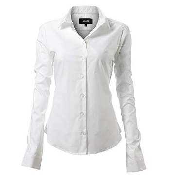 Harrms Women's Elastic Business Shirts, Classic Design Perfect for Work / Meeting / Ceremony / Wedding / Party / Formal or Casual Occasions - White - 45 (Manufacturer Size 20)