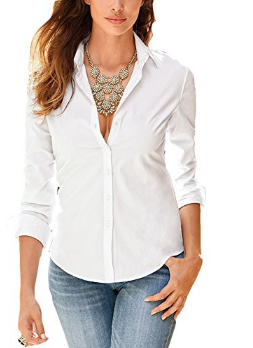 Tidecc Long Sleeve Office Shirt with Button, Lapel for Women - White - 53