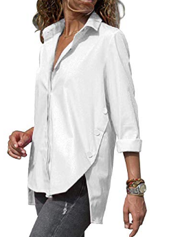 ORANDESIGNE Women's Blouse V-Neck Blouse Casual Fashion Tunic Top Top Shirt Long Sleeve Casual Loose Blouse White FR 40