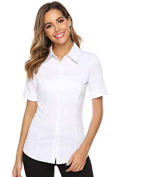 Abollria Women's Casual Blouse with Buttons V-Neck Short Sleeve Loose Dress Office Business Basic Chic Classic Elegant Blouse, White * Short Sleeve, XXL
